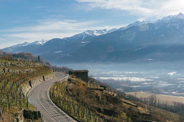 Swerving Road In Valtellina, Italy Art Print