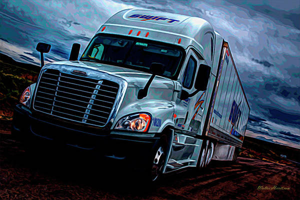 Semi-truck Digital Art - Swift Digital Art Painting #1 by Walter Herrit