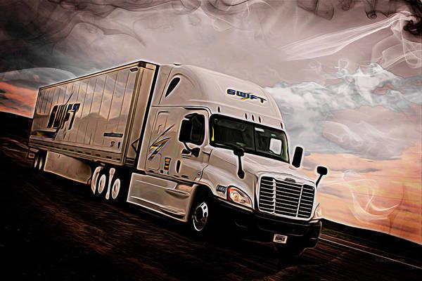 Semi-truck Digital Art - Swift Digital Art Painting #2a by Walter Herrit