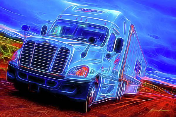 Semi-truck Digital Art - Swift Trans Expressionism by Walter Herrit