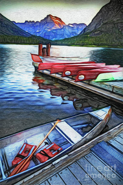 Photograph - Swiftcurrent Lake And Canoes_pastel Version by Craig J Satterlee