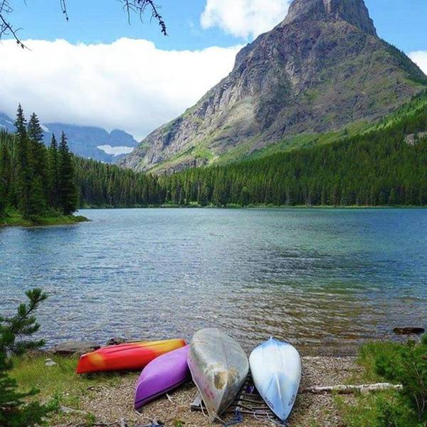 Photograph - #swiftcurrent #lake #loop #trail #canoe by Patricia And Craig