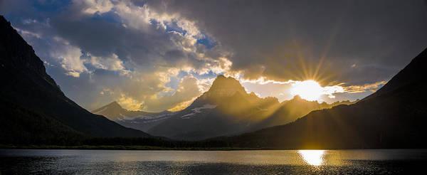 Wall Art - Photograph - Swiftcurrent Lake Sundown Glacier N P by Steve Gadomski