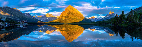 Art Print featuring the photograph Swiftcurrent Lake Sunrise Panorama by Dustin  LeFevre