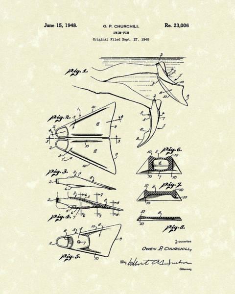 Fin Wall Art - Drawing - Swim Fin 1948 Patent Art by Prior Art Design
