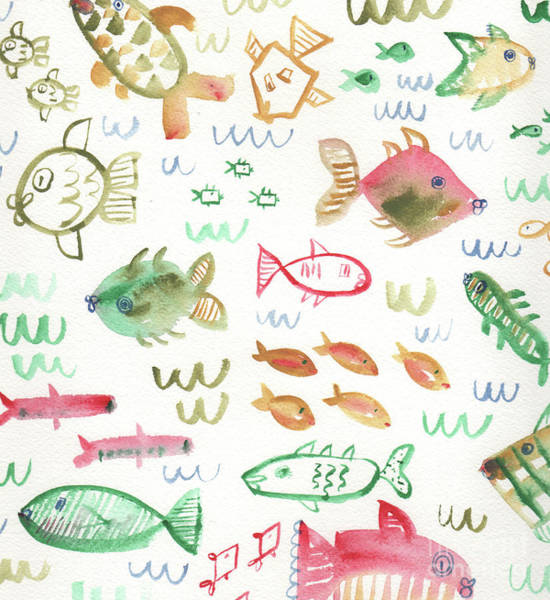 Wall Art - Painting - Swim Fishies by Kristy Lankford