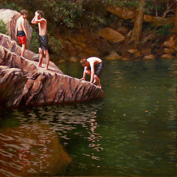 Wall Art - Painting - Swimmers' Rock by Timothy Jones