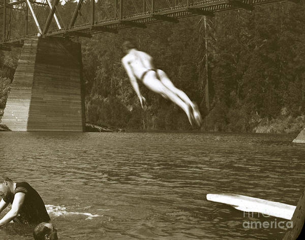 Photograph - Swimming And Diving In Russian River With Railroad Bridge Across by California Views Archives Mr Pat Hathaway Archives