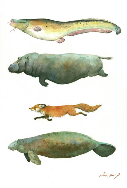 Wall Art - Painting - Swimming Animals by Juan Bosco