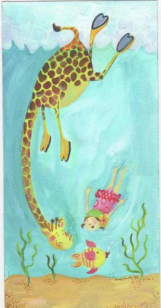 Wall Art - Painting - Swimming Giraffe by Kristy Lankford