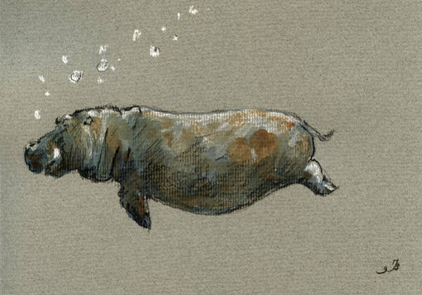 Wall Art - Painting - Swimming Hippo by Juan  Bosco