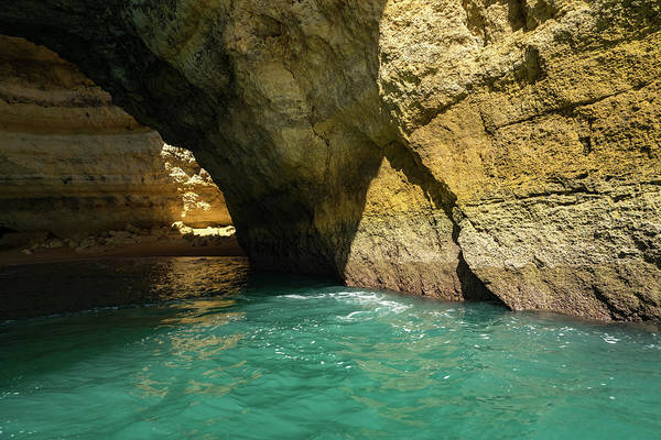 Photograph - Swimming In A Sea Cave - Raw Beauty In Turquoise And Amber by Georgia Mizuleva