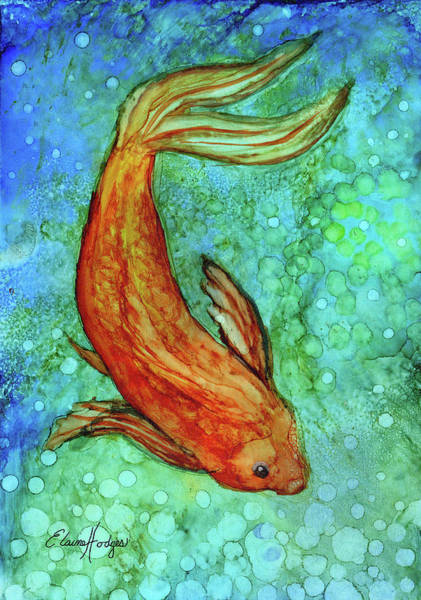 Wall Art - Painting - Swimming Koi Goldfish by Elaine Hodges