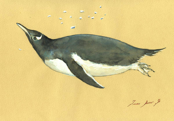 Wall Art - Painting - Swimming Penguin by Juan  Bosco