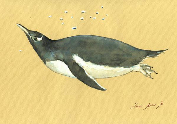 Sealife Wall Art - Painting - Swimming Penguin by Juan  Bosco