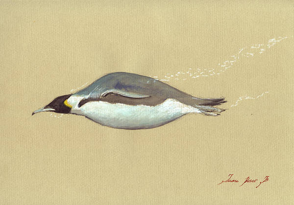Antartica Wall Art - Painting - Swimming Penguin Painting by Juan  Bosco