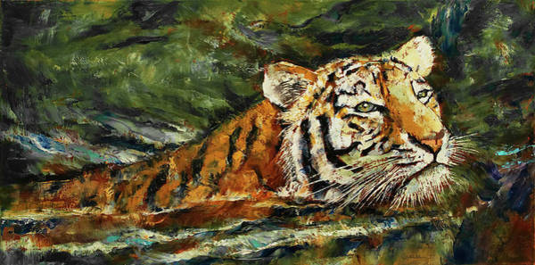 Wall Art - Painting - Swimming Tiger by Michael Creese