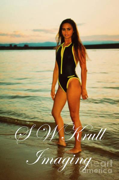 Photograph - Swimsuit Girl Ad Sunset Large Print by Steve Krull