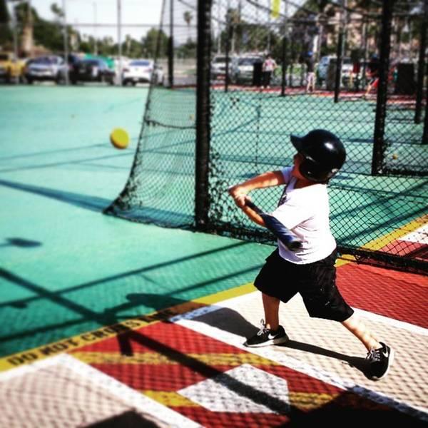 Swing! #softball #baseball #battingcage Art Print