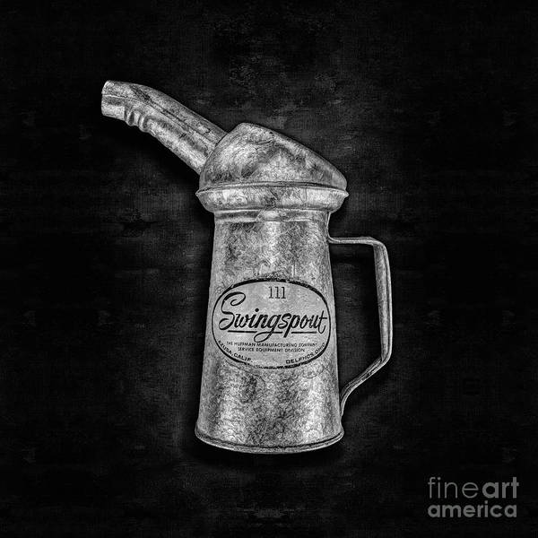 Tin Can Wall Art - Photograph - Swingspout Oil Can Bw by YoPedro