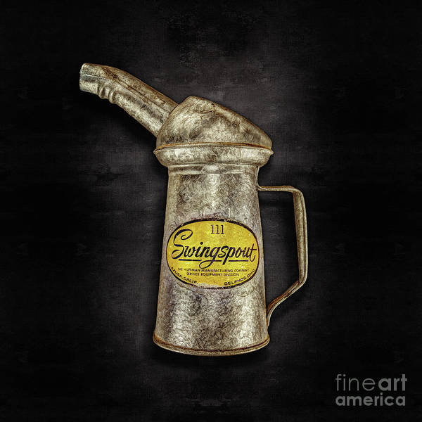 Tin Can Wall Art - Photograph - Swingspout Oil Can On Black by YoPedro