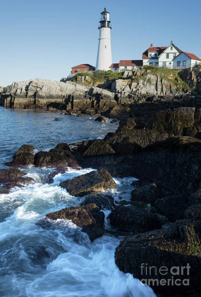 Photograph - Swirling Waves At Portland Head Light, Cape Elizabeth Me #30107 by John Bald