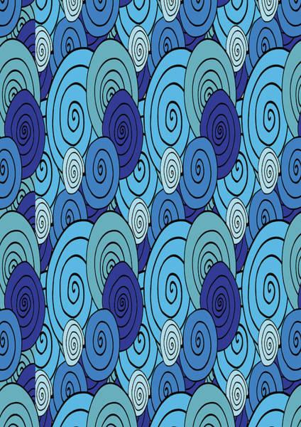 Digital Art - Swirls And Spirals Blue Pattern  by Irina Sztukowski