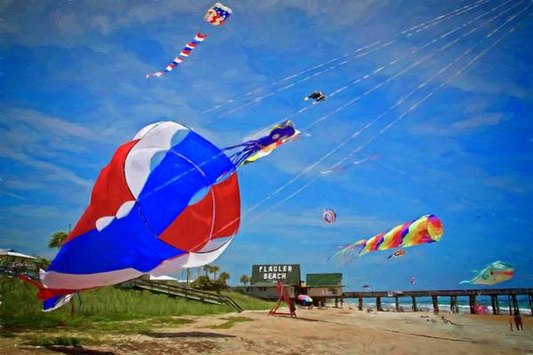 Photograph - Swirly Kites On Flagler Beach by Alice Gipson