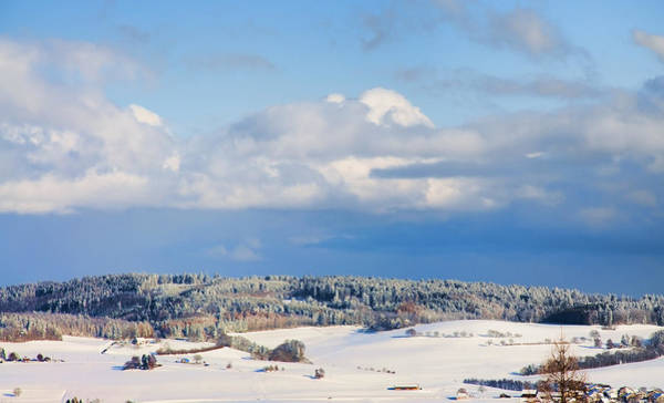 Wall Art - Digital Art - Swiss Farm Fields Under Snow by Antique Images