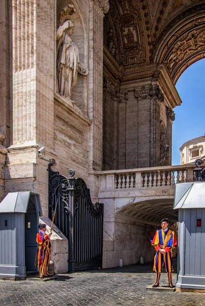 Apostolic Palace Photograph - Swiss Guards At The Vatican by Carolyn Derstine
