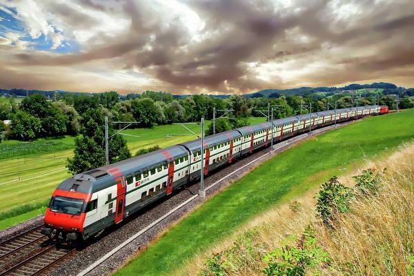 Photograph - Swiss Passenger Train by Anthony Dezenzio