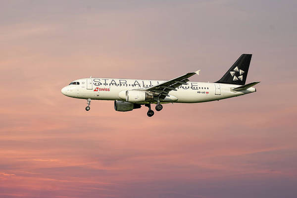 Swiss Wall Art - Mixed Media - Swiss Star Alliance Livery Airbus A320-214 4 by Smart Aviation