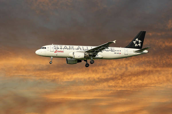 Wall Art - Mixed Media - Swiss Star Alliance Livery Airbus A320-214 7 by Smart Aviation