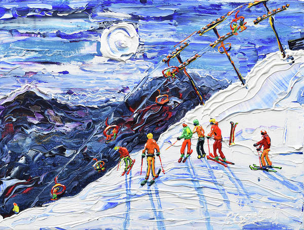 Skiing Painting - Swiss Wall Avoriaz by Pete Caswell