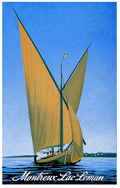 Lake Geneva Wall Art - Painting - Switzerland, Lake Geneva, Montreux, Sailing Boat by Long Shot
