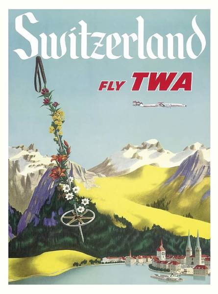 Switzerland Lake Lucerne Swiss Alps Vintage Airline Travel Poster Art Print
