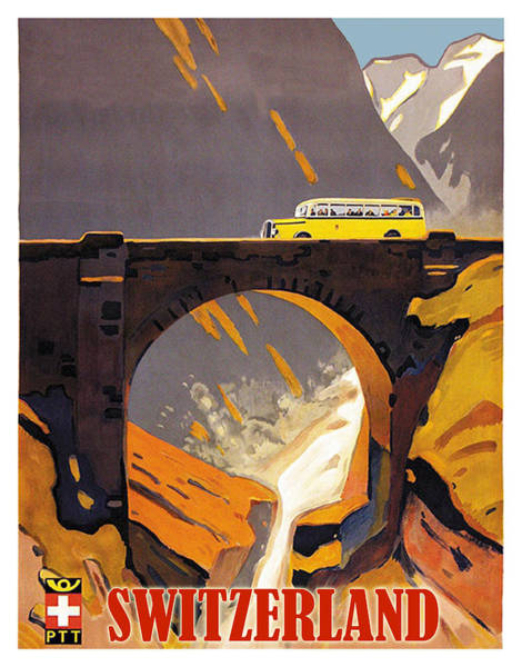 Wall Art - Painting - Switzerland, Mountains, Bus Tour, Travel Poster by Long Shot