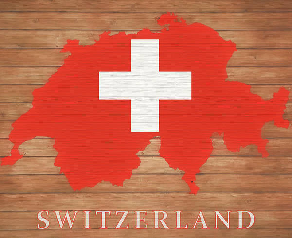 European Vacation Mixed Media - Switzerland Rustic Map On Wood by Dan Sproul