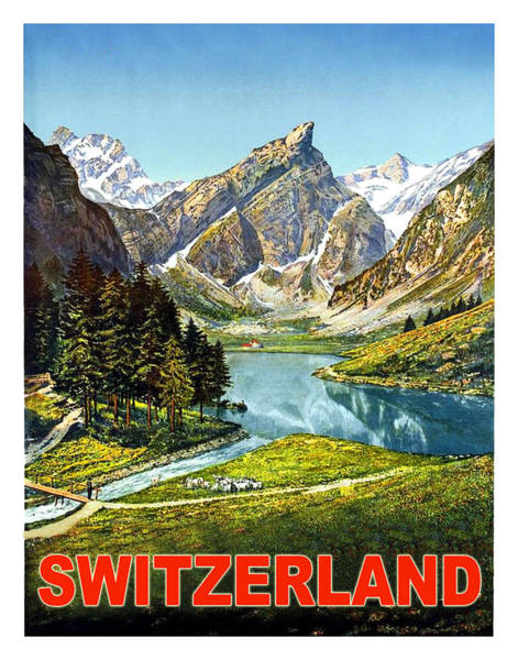 Wall Art - Painting - Switzerland, Scenery, Travel Poster by Long Shot
