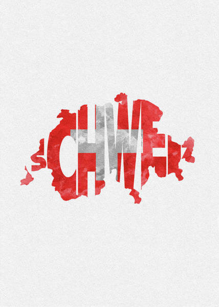 Dirty Painting - Switzerland Typographic Map Flag by Inspirowl Design