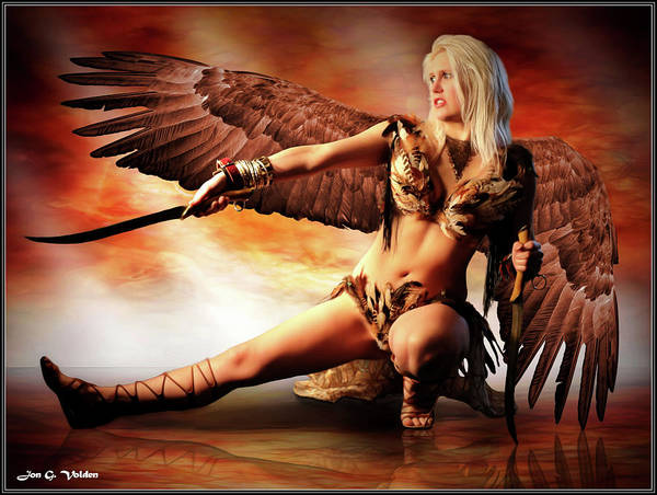 Photograph - Swords Of The Hawk Woman by Jon Volden