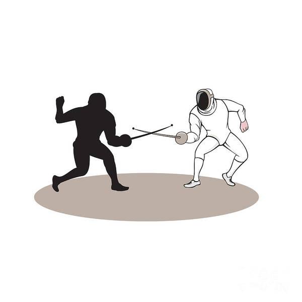 Sportsman Digital Art - Swordsmen Fencing Isolated Cartoon by Aloysius Patrimonio