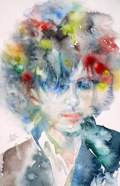Pink Floyd Painting - Syd Barrett - Watercolor Portrait.4 by Fabrizio Cassetta