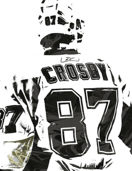 Wall Art - Mixed Media - Sydney Crosby Pittsburgh Penguins Pixel Art 2 by Joe Hamilton