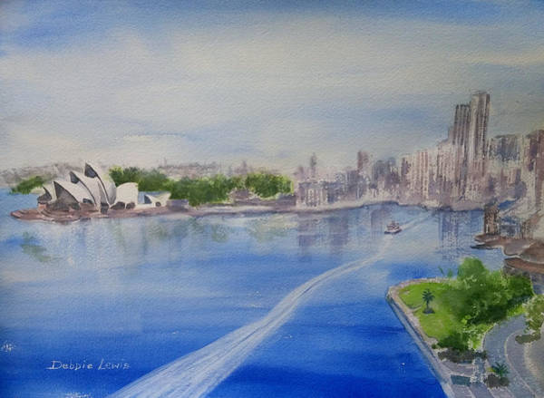 Painting - Sydney Harbor Aerial View by Debbie Lewis