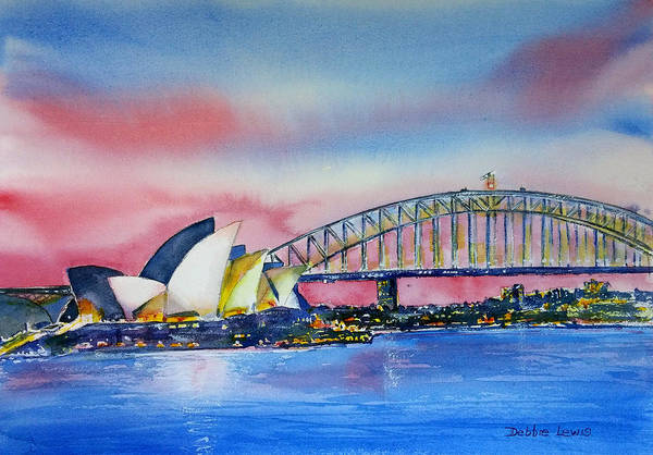 Painting - Sydney Harbor At Dusk by Debbie Lewis