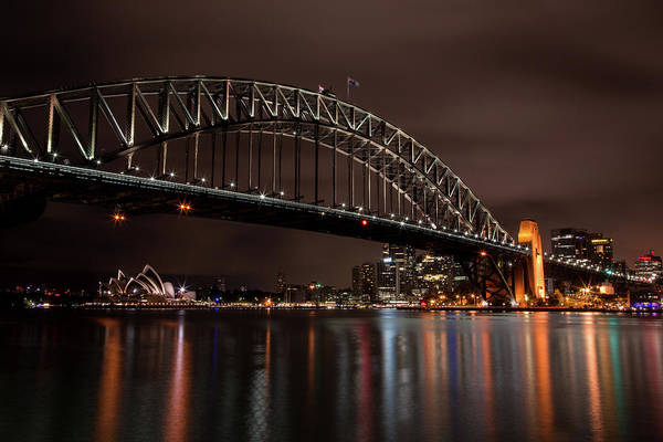 Photograph - Sydney Harbor At Night With Train by John Daly
