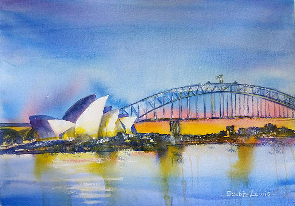Painting - Sydney Harbor At Sunset by Debbie Lewis