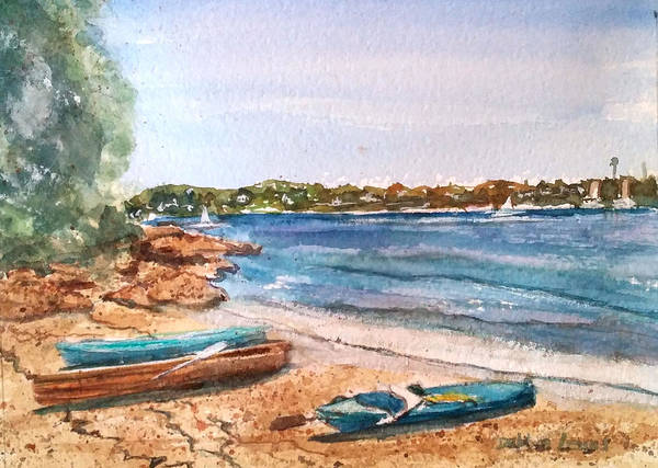 Painting - Sydney Harbor With Rowboats by Debbie Lewis