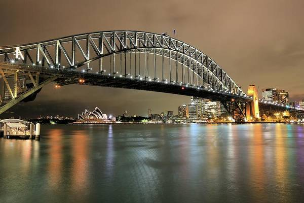 Photograph - Sydney Harbour At Night by M C Hood